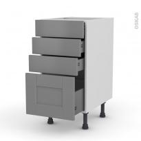 FILIPEN Gris - Meuble casserolier  - 4 tiroirs - L40xH70xP58