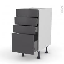 Meuble de cuisine - Casserolier - GINKO Gris - 4 tiroirs - L40 x H70 x P58 cm