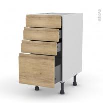 Meuble de cuisine - Casserolier - IPOMA Chêne naturel - 4 tiroirs - L40 x H70 x P58 cm
