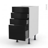 Meuble de cuisine - Casserolier - GINKO Noir - 4 tiroirs - L40 x H70 x P58 cm