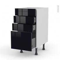 Meuble de cuisine - Casserolier - KERIA Noir - 4 tiroirs - L40 x H70 x P58 cm