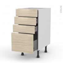 STILO Noyer Blanchi - Meuble casserolier  - 4 tiroirs - L40xH70xP58