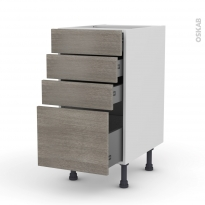 Meuble de cuisine - Casserolier - STILO Noyer Naturel - 4 tiroirs - L40 x H70 x P58 cm