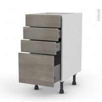 STILO Noyer Naturel - Meuble casserolier  - 4 tiroirs - L40xH70xP58