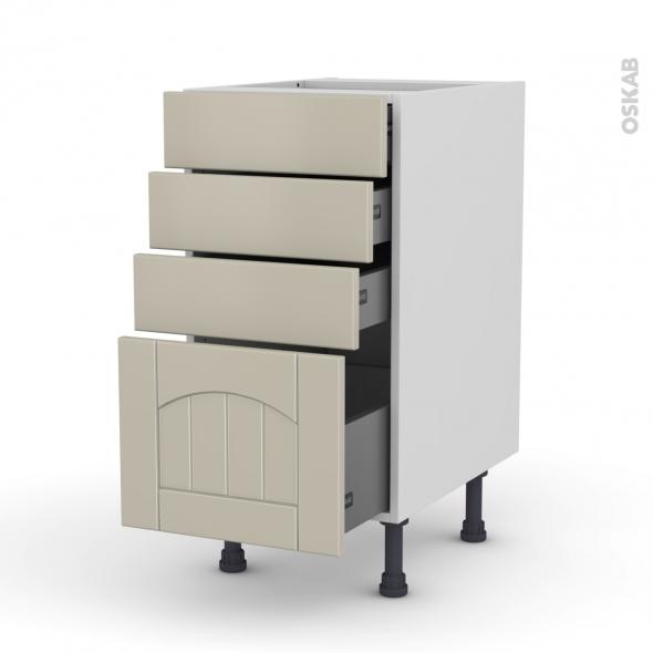 SILEN Argile - Meuble casserolier  - 4 tiroirs - L40xH70xP58