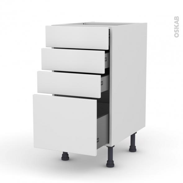 Meuble de cuisine - Casserolier - GINKO Blanc - 4 tiroirs - L40 x H70 x P58 cm