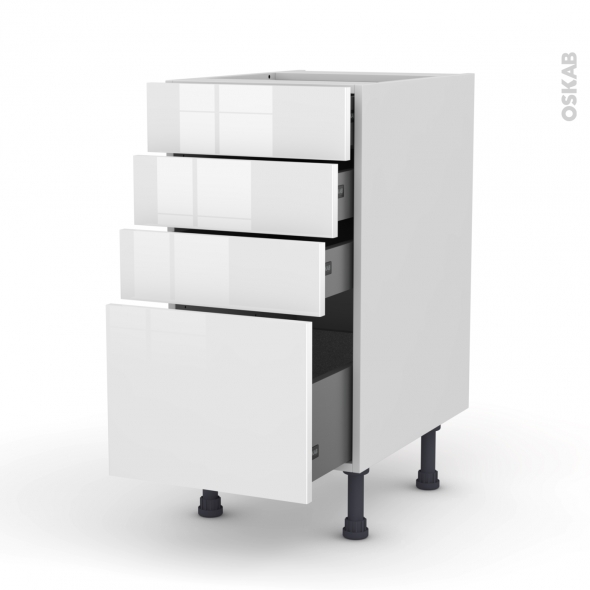Meuble de cuisine - Casserolier - STECIA Blanc - 4 tiroirs - L40 x H70 x P58 cm