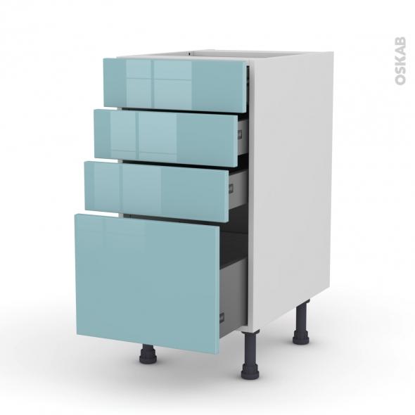 Meuble de cuisine - Casserolier - KERIA Bleu - 4 tiroirs - L40 x H70 x P58 cm