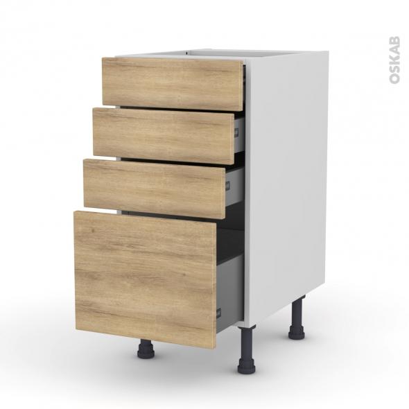 Meuble de cuisine - Casserolier - HOSTA Chêne naturel - 4 tiroirs - L40 x H70 x P58 cm