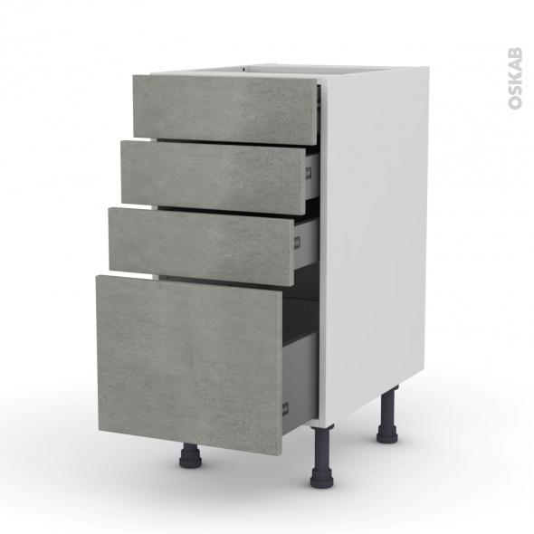 Meuble de cuisine - Casserolier - FAKTO Béton - 4 tiroirs - L40 x H70 x P58 cm