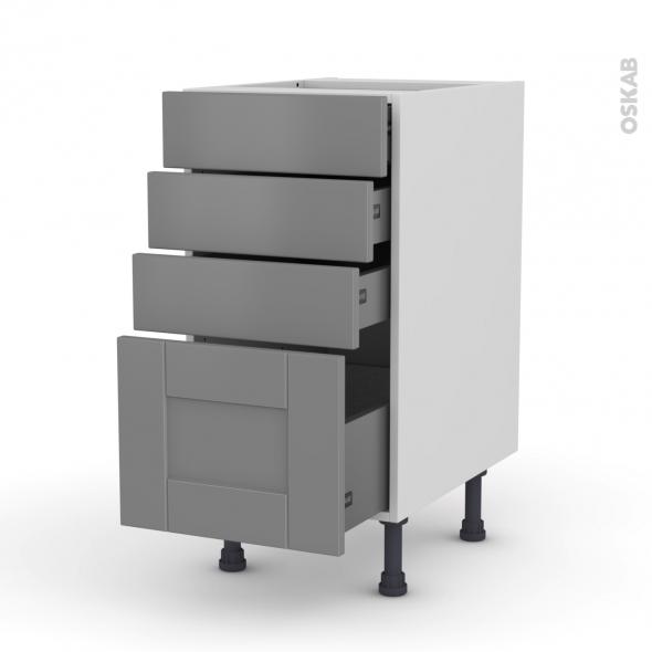 Meuble de cuisine - Casserolier - FILIPEN Gris - 4 tiroirs - L40 x H70 x P58 cm
