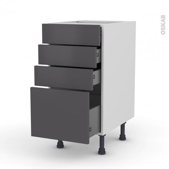 GINKO Gris - Meuble casserolier  - 4 tiroirs - L40xH70xP58