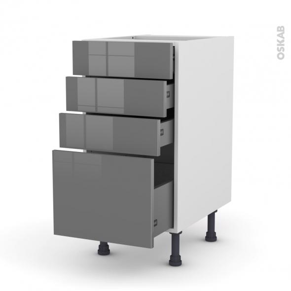 Meuble de cuisine - Casserolier - STECIA Gris - 4 tiroirs - L40 x H70 x P58 cm