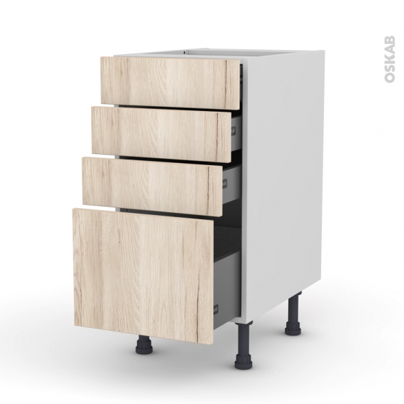 IKORO Chêne clair - Meuble casserolier  - 4 tiroirs - L40xH70xP58