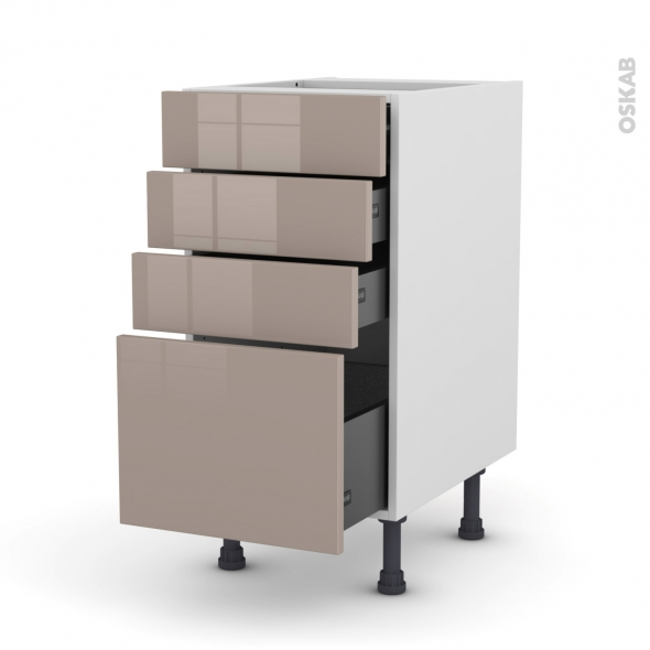 Meuble de cuisine - Casserolier - KERIA Moka - 4 tiroirs - L40 x H70 x P58 cm