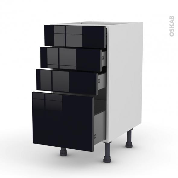KERIA Noir - Meuble casserolier  - 4 tiroirs - L40xH70xP58