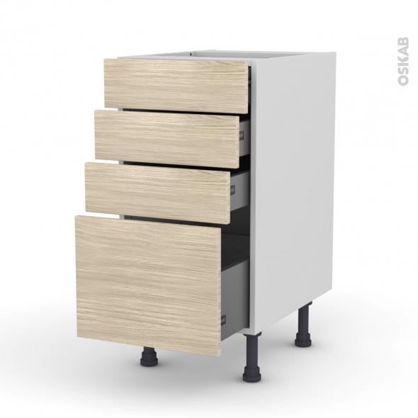Meuble de cuisine - Casserolier - STILO Noyer Blanchi - 4 tiroirs - L40 x H70 x P58 cm