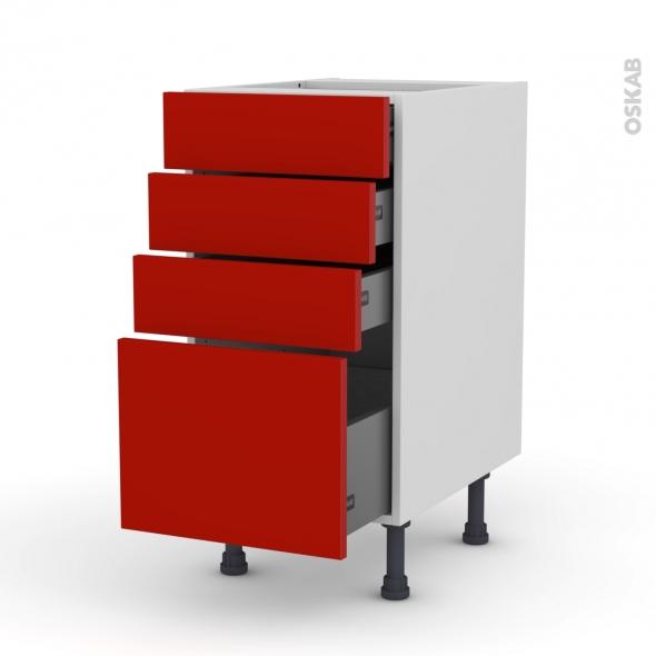 GINKO Rouge - Meuble casserolier  - 4 tiroirs - L40xH70xP58