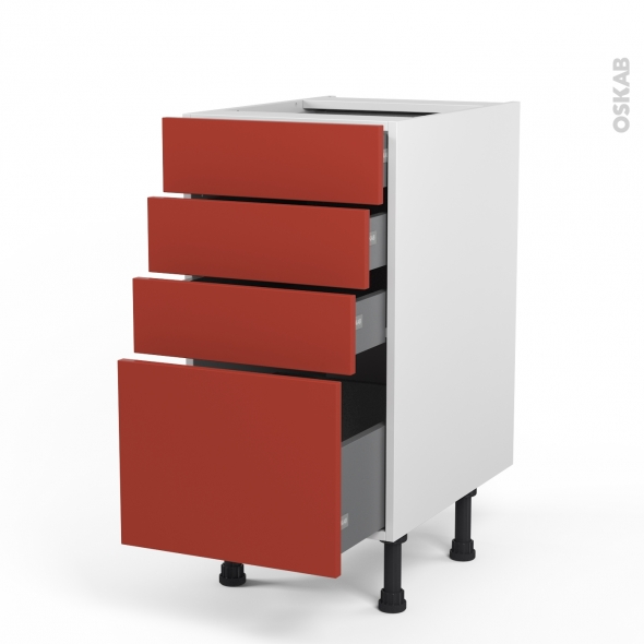 HELIO Rouge - Meuble casserolier  - 4 tiroirs - L40xH70xP58