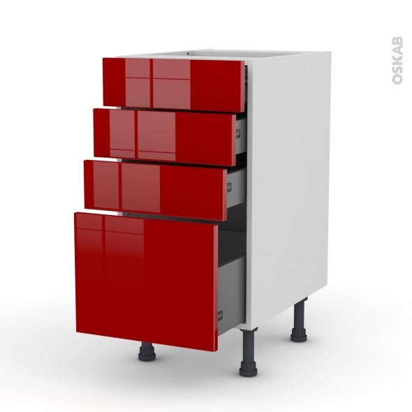 Meuble de cuisine - Casserolier - STECIA Rouge - 4 tiroirs - L40 x H70 x P58 cm