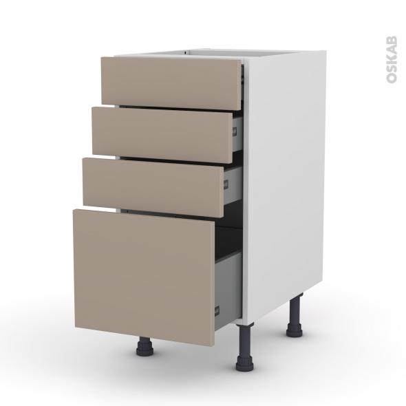 Meuble de cuisine - Casserolier - GINKO Taupe - 4 tiroirs - L40 x H70 x P58 cm