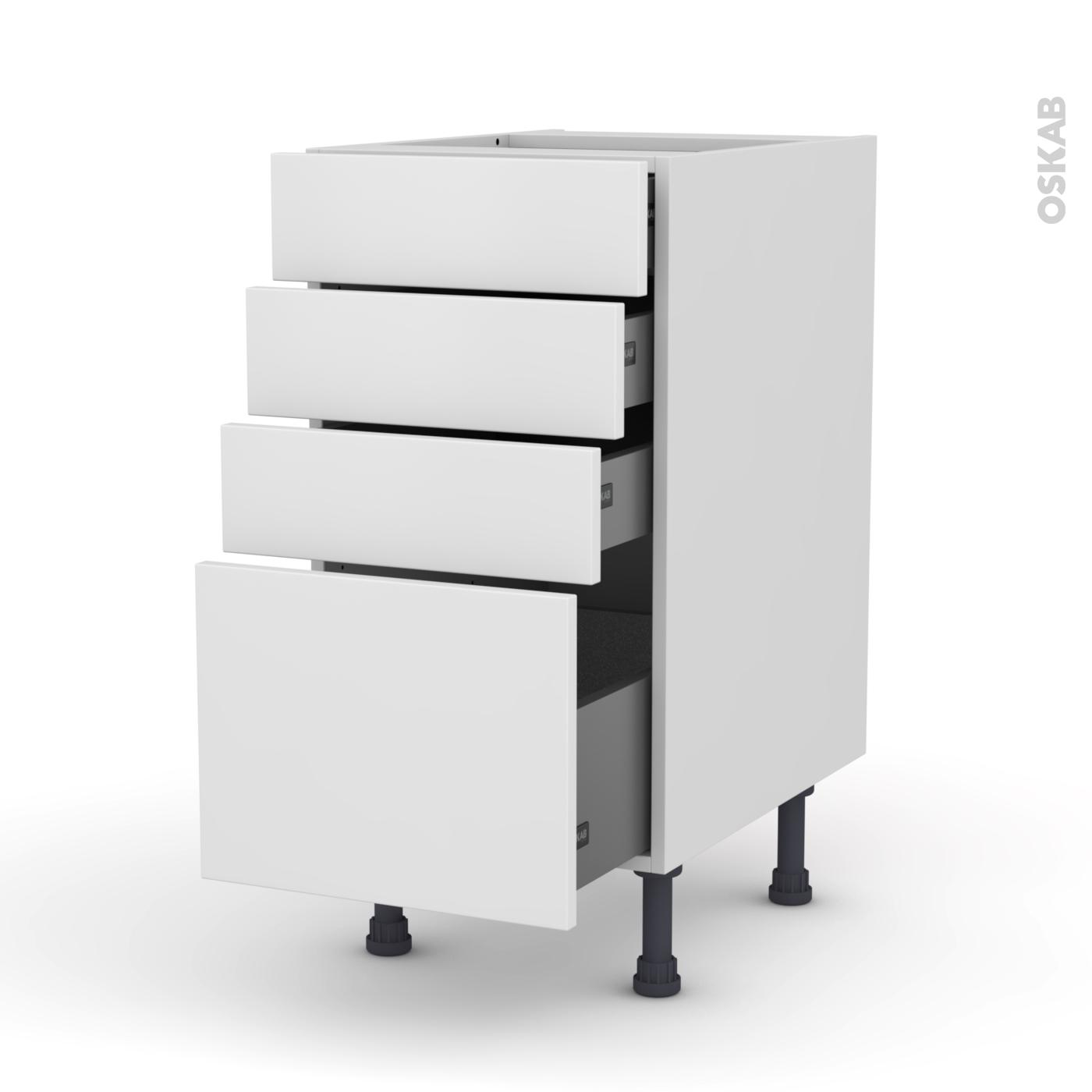Meuble de cuisine Casserolier GINKO Blanc 4 tiroirs L40 x H70 x P58 cm -  Oskab
