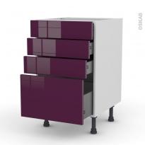 Meuble de cuisine - Casserolier - KERIA Aubergine - 4 tiroirs - L50 x H70 x P58 cm