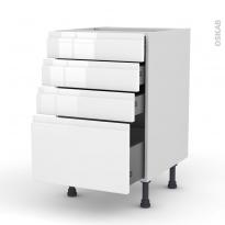Meuble de cuisine - Casserolier - IPOMA Blanc - 4 tiroirs - L50 x H70 x P58 cm