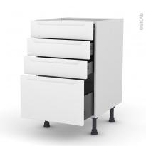 Meuble de cuisine - Casserolier - PIMA Blanc - 4 tiroirs - L50 x H70 x P58 cm