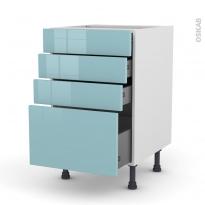 KERIA Bleu - Meuble casserolier  - 4 tiroirs - L50xH70xP58