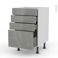 Meuble de cuisine - Casserolier - FAKTO Béton - 4 tiroirs - L50 x H70 x P58 cm