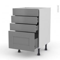 Meuble de cuisine - Casserolier - FILIPEN Gris - 4 tiroirs - L50 x H70 x P58 cm