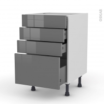 Meuble de cuisine - Casserolier - STECIA Gris - 4 tiroirs - L50 x H70 x P58 cm