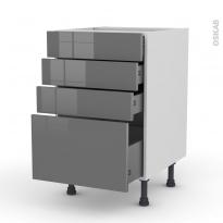 STECIA Gris - Meuble casserolier  - 4 tiroirs - L50xH70xP58
