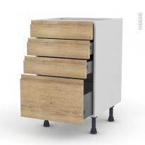 Meuble de cuisine - Casserolier - IPOMA Chêne naturel - 4 tiroirs - L50 x H70 x P58 cm