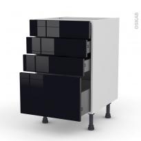 Meuble de cuisine - Casserolier - KERIA Noir - 4 tiroirs - L50 x H70 x P58 cm