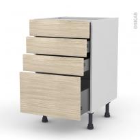 Meuble de cuisine - Casserolier - STILO Noyer Blanchi - 4 tiroirs - L50 x H70 x P58 cm
