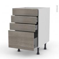 Meuble de cuisine - Casserolier - STILO Noyer Naturel - 4 tiroirs - L50 x H70 x P58 cm