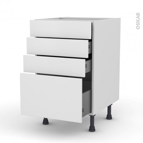 Meuble de cuisine - Casserolier - GINKO Blanc - 4 tiroirs - L50 x H70 x P58 cm