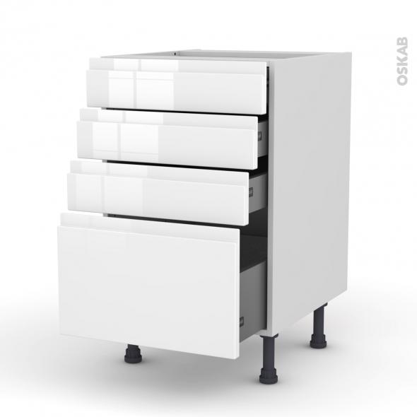 Meuble de cuisine - Casserolier - IPOMA Blanc brillant - 4 tiroirs - L50 x H70 x P58 cm