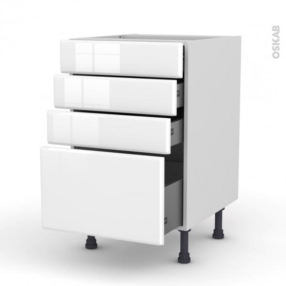 Meuble de cuisine - Casserolier - IRIS Blanc - 4 tiroirs - L50 x H70 x P58 cm