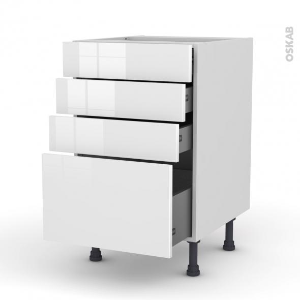 STECIA Blanc - Meuble casserolier  - 4 tiroirs - L50xH70xP58
