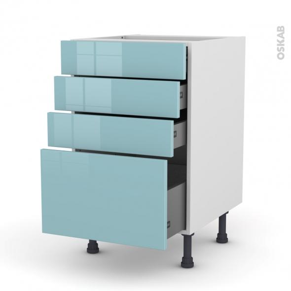 Meuble de cuisine - Casserolier - KERIA Bleu - 4 tiroirs - L50 x H70 x P58 cm