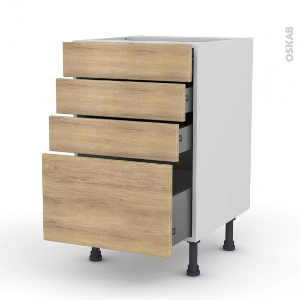 Meuble de cuisine - Casserolier - HOSTA Chêne naturel - 4 tiroirs - L50 x H70 x P58 cm