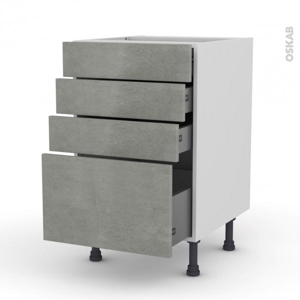 FAKTO Béton - Meuble casserolier  - 4 tiroirs - L50xH70xP58