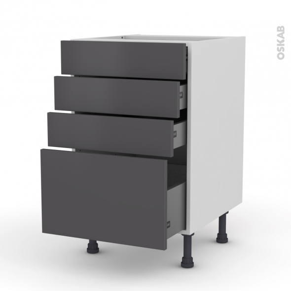 Meuble de cuisine - Casserolier - GINKO Gris - 4 tiroirs - L50 x H70 x P58 cm