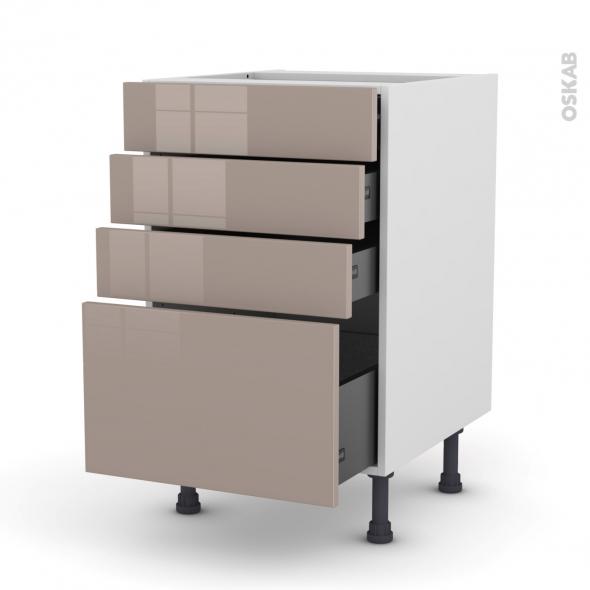Meuble de cuisine - Casserolier - KERIA Moka - 4 tiroirs - L50 x H70 x P58 cm