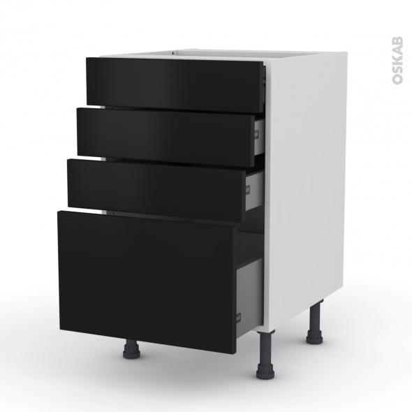 Meuble de cuisine - Casserolier - GINKO Noir - 4 tiroirs - L50 x H70 x P58 cm