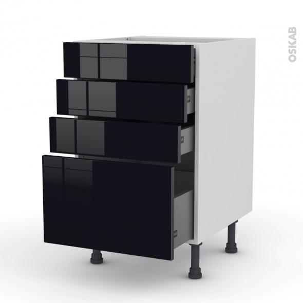 KERIA Noir - Meuble casserolier  - 4 tiroirs - L50xH70xP58