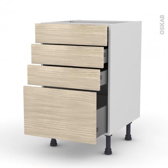 STILO Noyer Blanchi - Meuble casserolier  - 4 tiroirs - L50xH70xP58